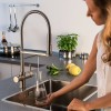 GUGLIELMI PURA Still+Sparkling+G100 Kitchen faucet with filtered water connection with pull-out hand schower